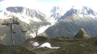 Webcam du télésiège de l'Index - Chamonix Mont-Blanc. Panorama de l'aiguille Verte au mont Blanc